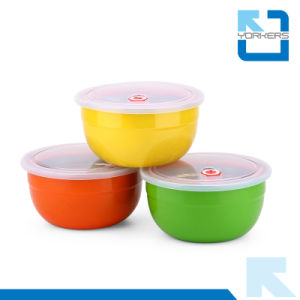 Colorful Stainless Steel Salad Bowl Fruit Bowl with Lid pictures & photos