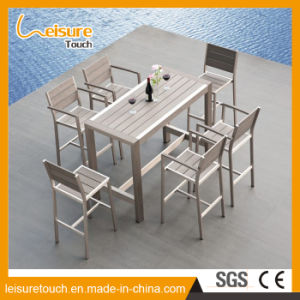 European Style Garden Restaurant Cafe Wiredrawing Aluminum Plastic Wood Chair Table Set pictures & photos