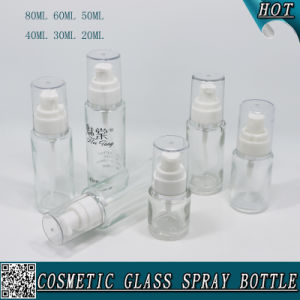 20ml 30ml 40ml 50ml 60ml 80ml Cosmetic Clear Glass Lotion Bottle with Pump Sprayer pictures & photos