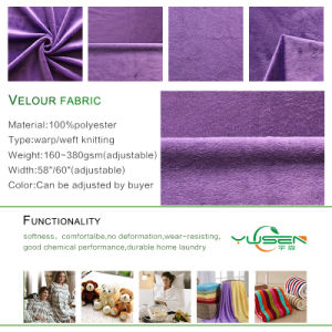 Warp Knitted Super Soft Stretch Velour Fabric for Pillow Cover, Pajamas, Toy pictures & photos