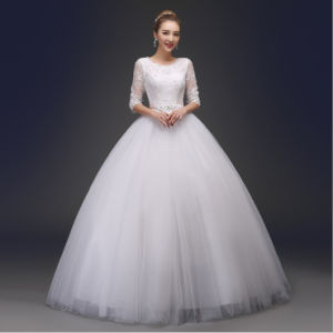 Ball Gown Bateau Half Sleeves Beads Tull Bridal Dress pictures & photos