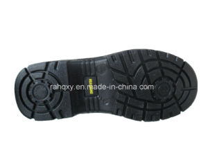 Split Embossed Leather Plastic Shoebuckle Safety Shoes (HQ01021) pictures & photos