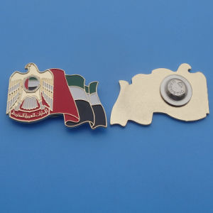 Customized Metal Gold UAE Falcon and UAE Flag 45th National Day Soft Enamel Badges pictures & photos