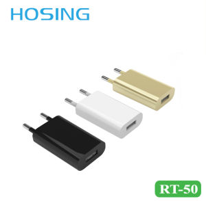 5V 1A EU Plug Home Charger Gold/ White/ Black Color Mini USB Charger for Mobile Phone pictures & photos