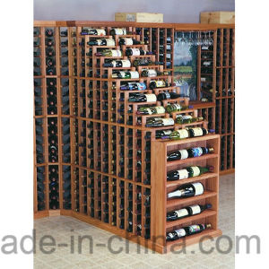 Customize Design Floor Wood Bottle Storage Wine Rack Cellar pictures & photos