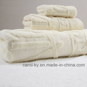Cotton Custom Jacquard Logo Hotel Towel Set pictures & photos