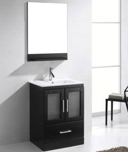 Solid Oak Wood Floor Mounted Single Basin Bathroom Vanity Cabinet