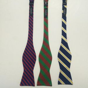 Men′s Fashionable Wide Stripe Design Woven Silk Self Bow Ties pictures & photos