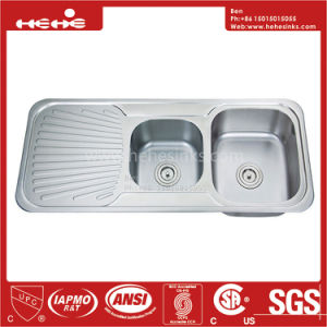 Drain Board Sink, Top Mount Double Bowl Drain Board Kitchen Sink with Cupc Approved pictures & photos
