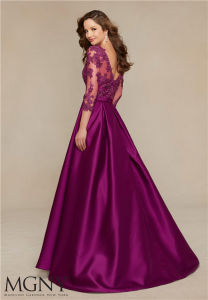 2016 New Satin Lace Backless A-Line Evening Dresses, Customized pictures & photos