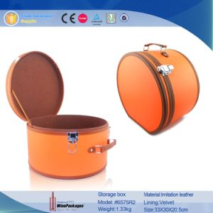Round Tube Large Contain Zipper Leather Storage Box (6575R2) pictures & photos