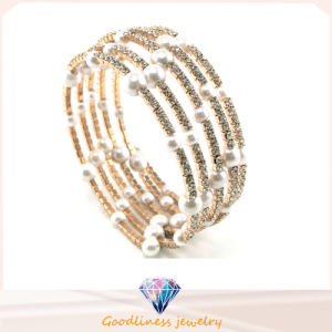 New White Pearl with CZ Stone Gold Plated Silver Jewelry Fashion Bracelets & Bangle (G41254) pictures & photos