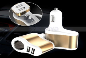 Multiplier in-Car 1 to 3 Sockets Dual USB Ports Car Cigarette Lighter DC 12V/24V Mobile Phone Car Charger Splitter pictures & photos
