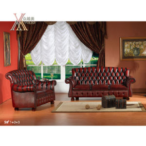 Antique Style Leather Sofa Set (S8+A6+A6-1) pictures & photos