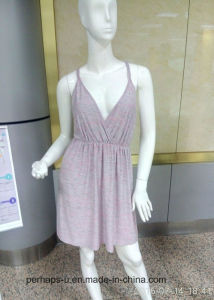 Custom Ladies Slip Dress with Colorful Heather Yarn Fabric pictures & photos