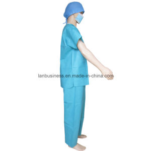 Soft SMS V-Collar Green Scrub Suit with 3 Pockets pictures & photos