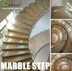 M729 Golden Emperador Marble Step/Stairs/Treads and Riser with Spiral/Helical/Spiry/Circular Shape pictures & photos