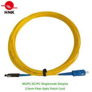 Mu/PC-SC/PC Simplex Singlemode 2.0mm Fiber Optic Patch Cord pictures & photos