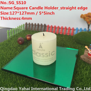 4mm Green Straight Edge Glass Candle Holder pictures & photos