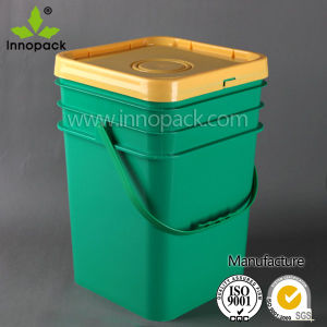 20L Square Green Plastic Bucket with Tamper Proof Lid and Handle pictures & photos
