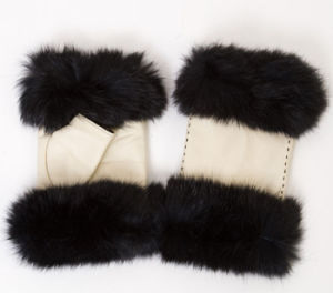 Lady Fashion Fox Fur Fingerless Leather Dress Gloves (YKY5162) pictures & photos