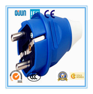 Industrial Schuko Plug of IP44 16A 2p+E Plastic PA PP