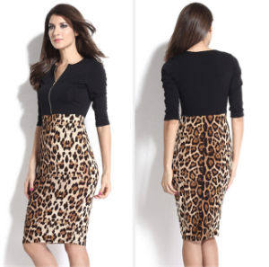 Western Style Women Splicing Leopard Sexy Tight Pencil Dress pictures & photos