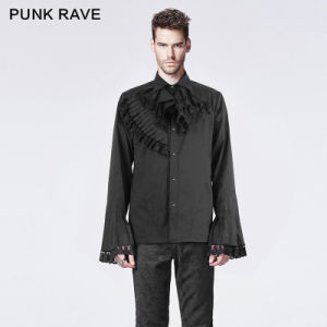 Punk Rave Gothic Dark Printing Shirt with Trumpet Sleeve (Y-603/BK) pictures & photos