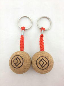 Custom Wood Cork Ball Keychain Keyrings pictures & photos