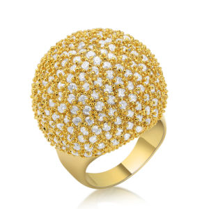 Latest Fashion Fshion Yellow Gold CZ Brass Ladies Wedding Ring pictures & photos