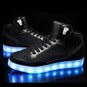 Luminous LED Running Shoes with Two Buckles That Lace up High Heel pictures & photos