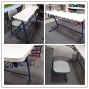 High Quality Popular Double School Desk and Chair (SF-15D) pictures & photos