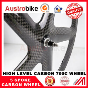 Full Carbon Fiber Bicycle 5 Spoke Wheel for Road Bicycle pictures & photos