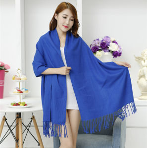 Lady Fashion Acrylic Woven Fringed Plain Winter Shawl (YKY4449) pictures & photos