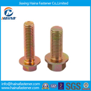High Strength M8 JIS B1189 Yellow Zinc Class10.9 Flange Bolt pictures & photos