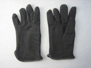 Black Jersey Cotton Fleecy Lined Winter Work Glove-2107 pictures & photos