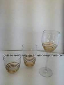 Whiskey Glass and Wine Glass with Gold Swirls pictures & photos