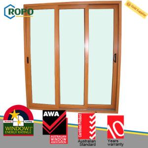 Wooden Color UPVC/PVC Plastic Sliding Glass Door Manufacturer pictures & photos