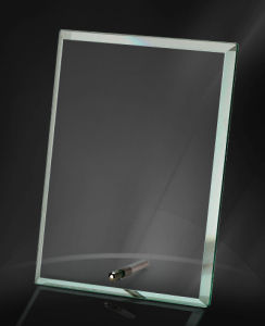 Jade and Clear Glass Crystal Trophy with Metal Stand Hotsale pictures & photos