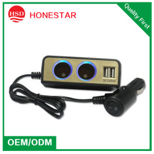 2015 Newest Dual Port Car Cigarette Socket with Switch pictures & photos