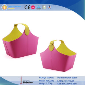 Bright-Colored PU Leather Baskets (6423R3) pictures & photos