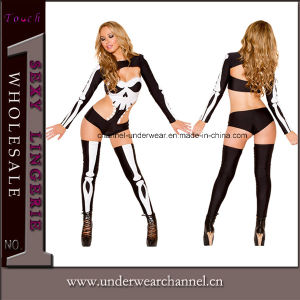 Skeleton Fancy Dress Halloween Party Christmas Women Costume (8911) pictures & photos