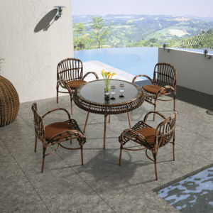 Environmental PE Rattan Garden Outdoor Furniture Dining Table with Four Chairs pictures & photos