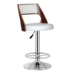 Modern Leather and Wooden Accent Hydraulic Bar Stools (FS-WB092-1) pictures & photos