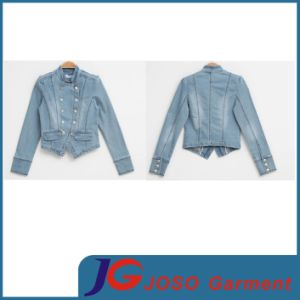 Army Style Women Denim Bleached Jacket Garment (JC4073) pictures & photos