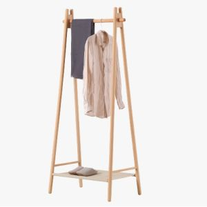 Popular Cloth Beech Standing Hanger Wooden Coat Rack pictures & photos
