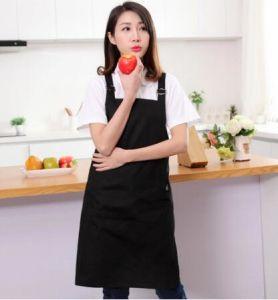 Black Bib Apron with Pockets - Kitchen Apron - Adjustable Neck Strap pictures & photos
