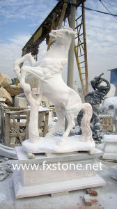 Carved White Marble Pegasus for Garden Decoration pictures & photos