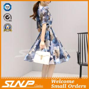 2016 New Design V-Neck Women′s Chiffon Sleeveless Ladies Dress