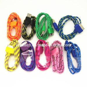 Colorful Fabric Nylon USB Cable for iPhone 4S pictures & photos